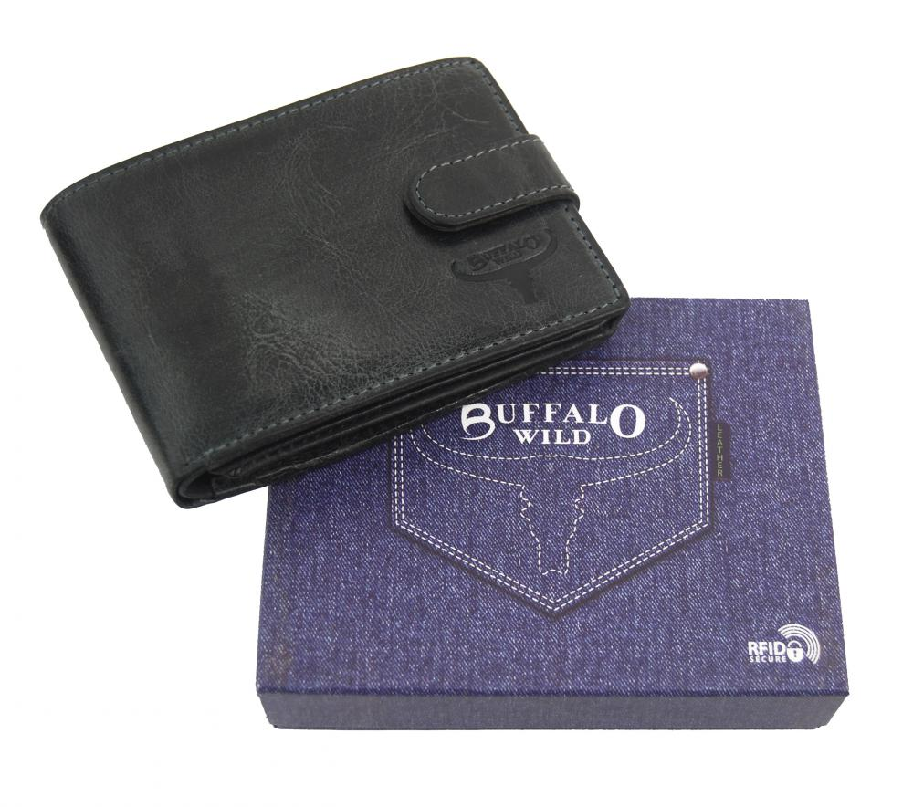 Kožená černá pánská peněženka RFID v krabičce BUFFALO WILD