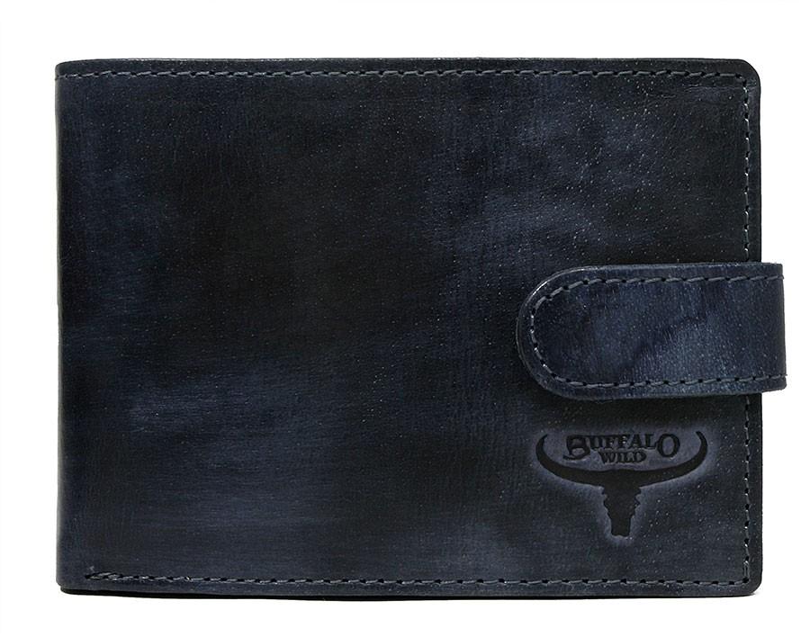 Kožená tmavo modrá pánska peňaženka RFID v krabičke BUFFALO WILD