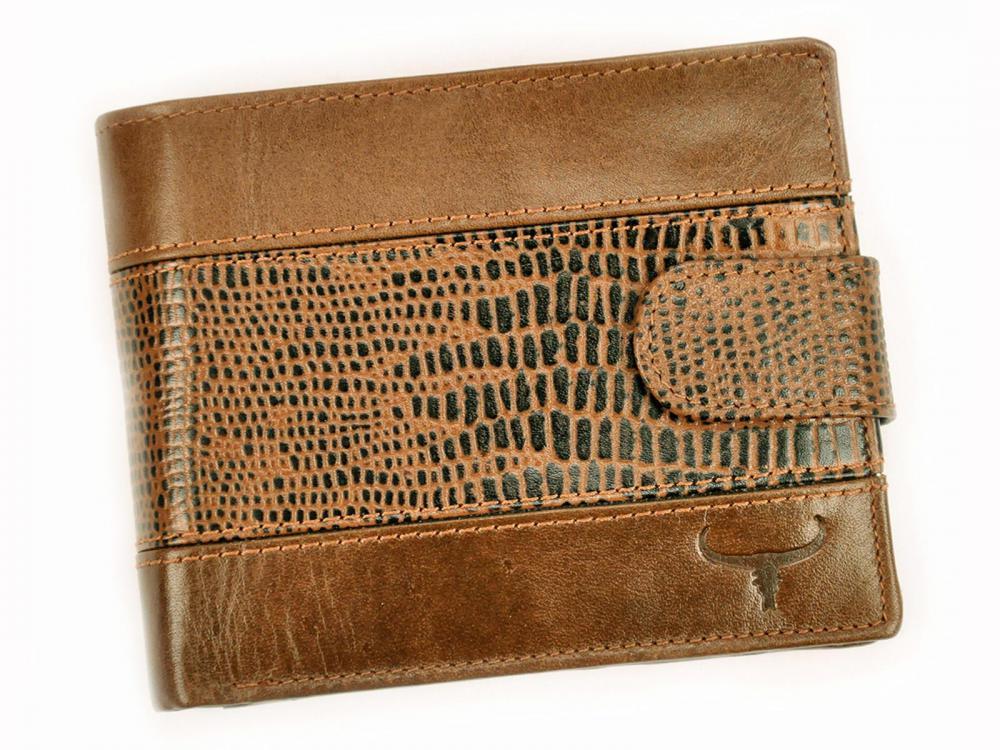 Kožená hnědá RFID pánská peněženka v krabičce BUFFALO WILD