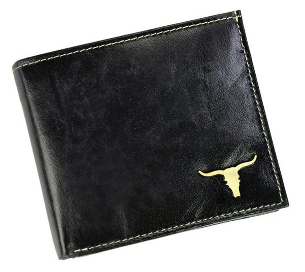 Čierna pánska kožená peňaženka v krabičke WILD