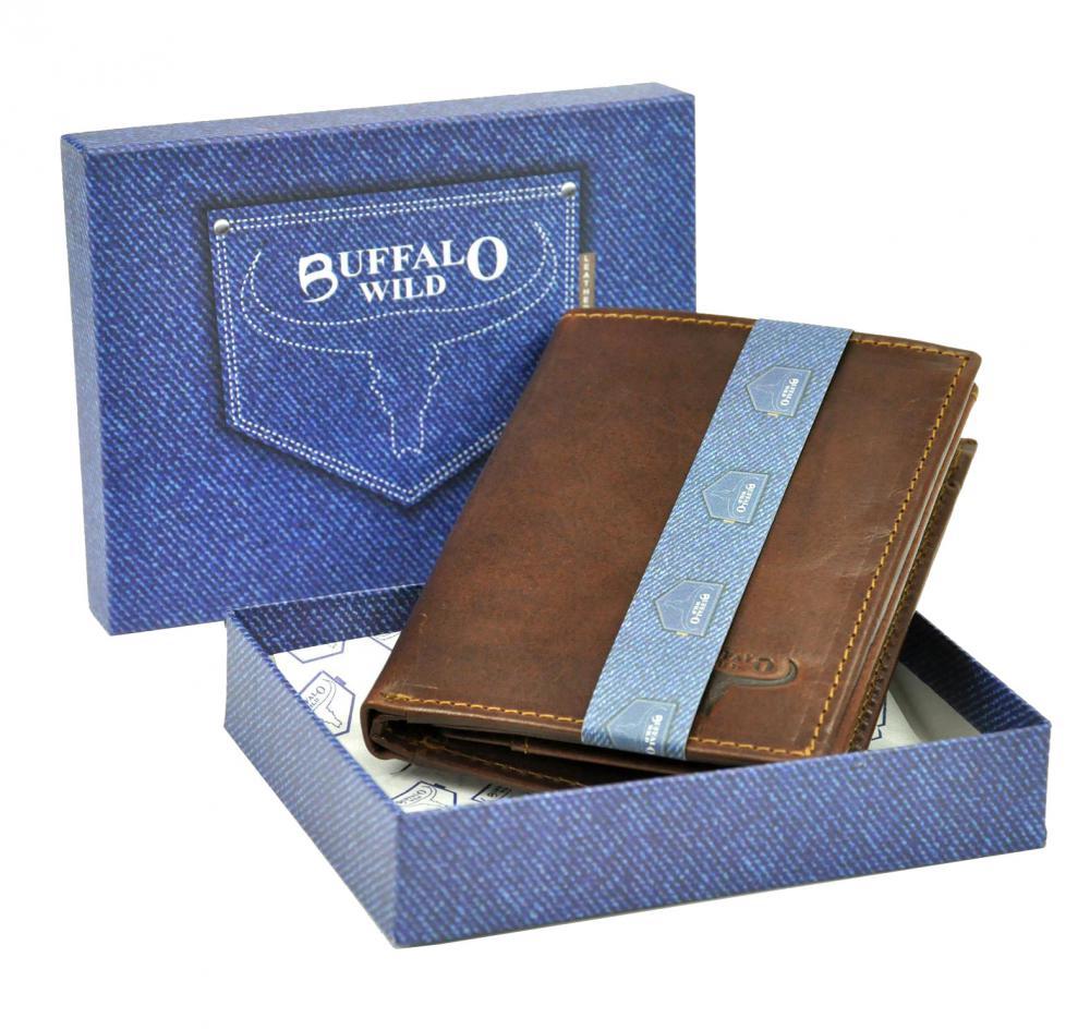 Kožená pánska peňaženka čierna RFID v krabičke BUFFALO WILD