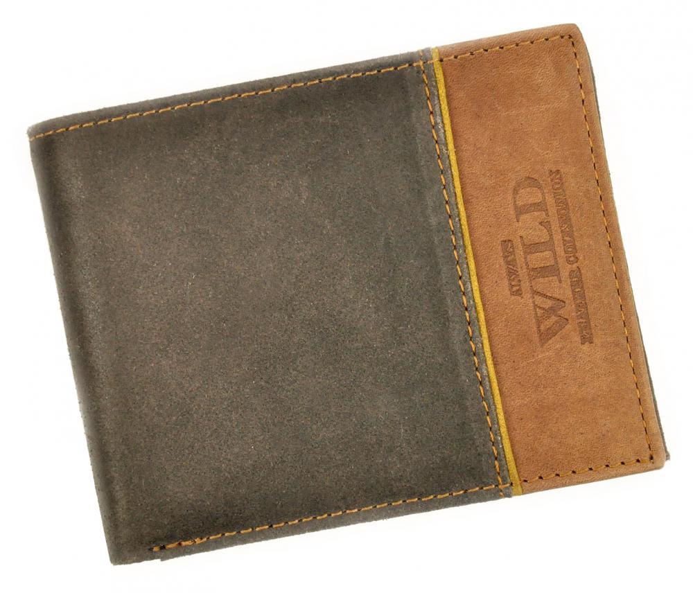 Kožená hnedá pánska peňaženka RFID v krabičke WILD