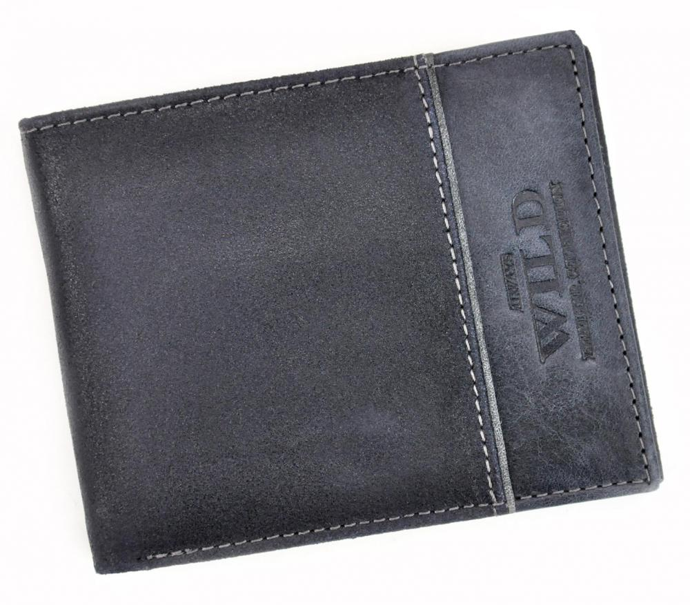 Kožená modrá pánská peněženka RFID v krabičce WILD