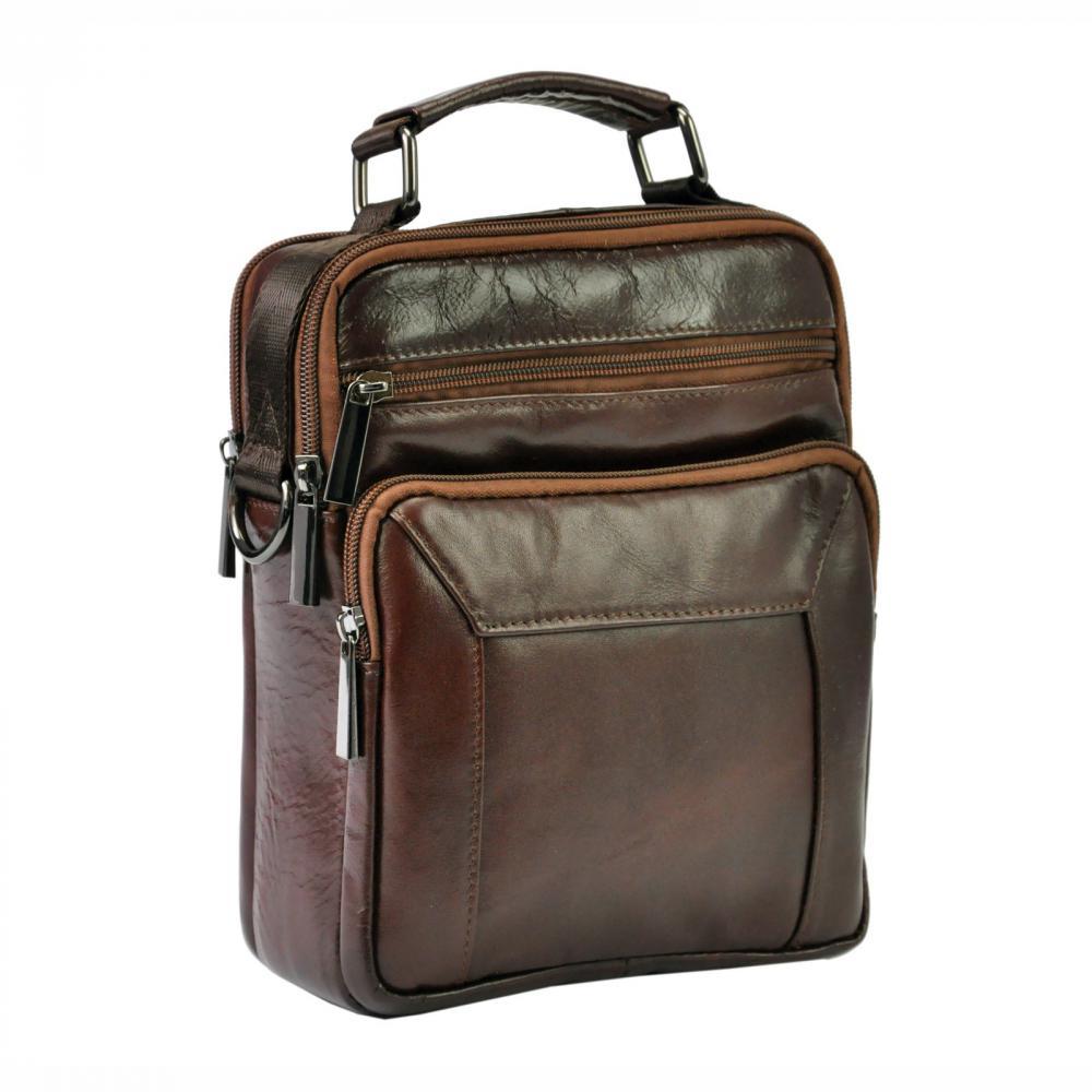 GIORGIO Kožená tmavě hnědá pánská taška 18x24x10 cm