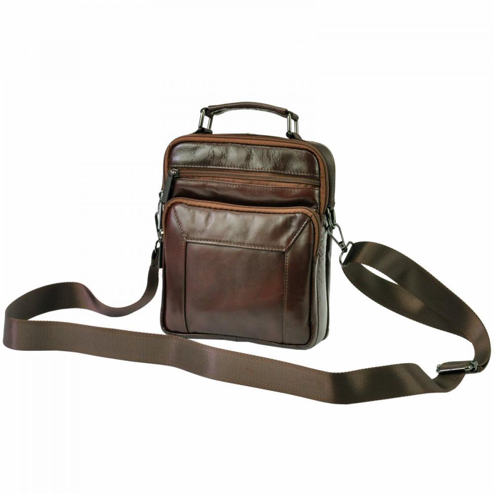 GIORGIO Kožená hnědá pánská taška 18x24x10 cm