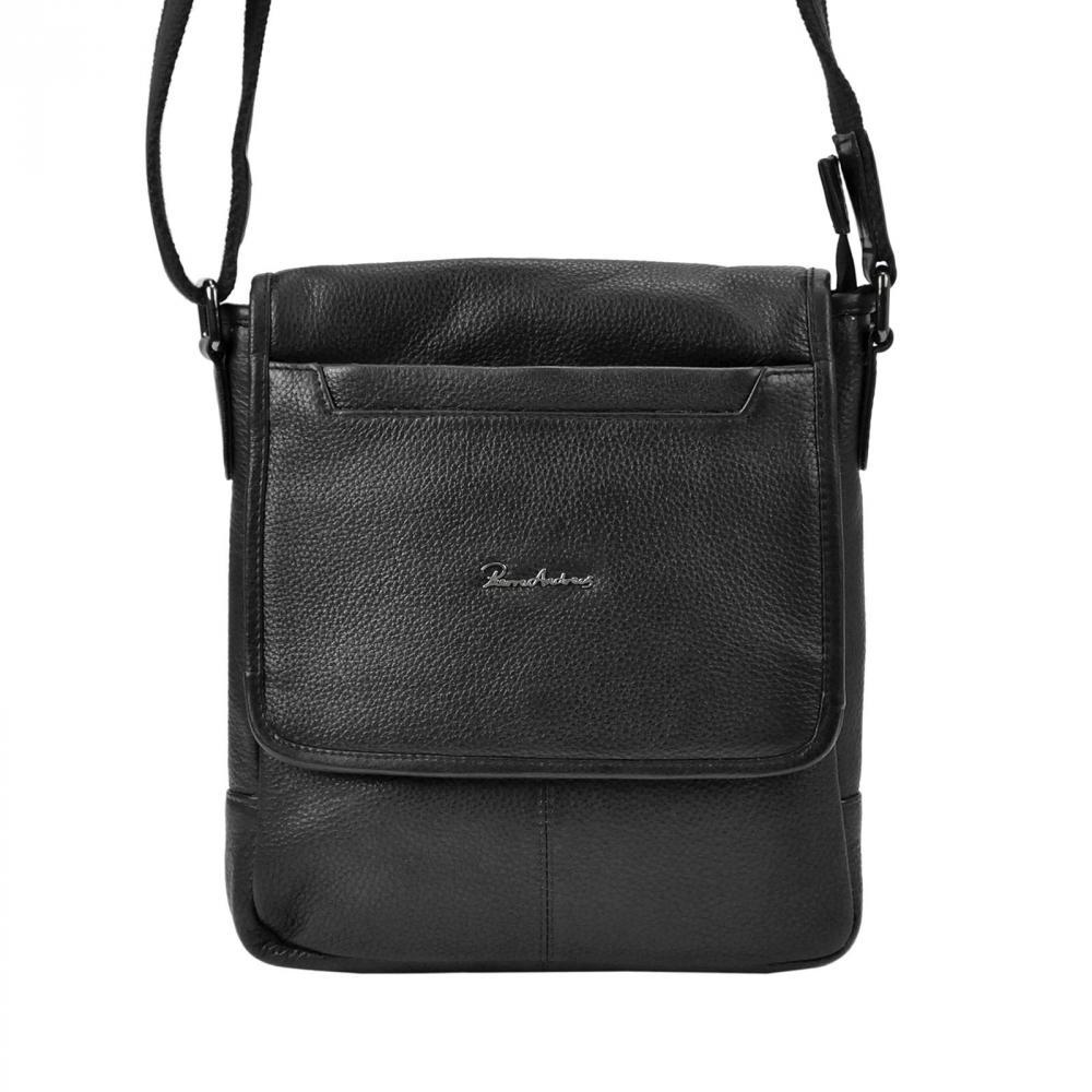 Kožená černá pánská crossbody taška Pierre Andreus 23 x 23 cm