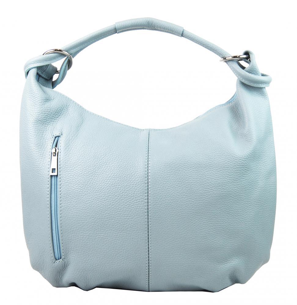 Kožená dámska kabelka cez plece Reba svetlo modrá