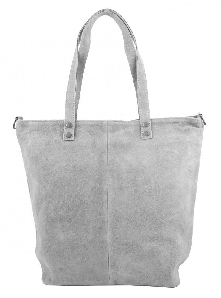 Kožená velká světle šedá broušená praktická dámská kabelka