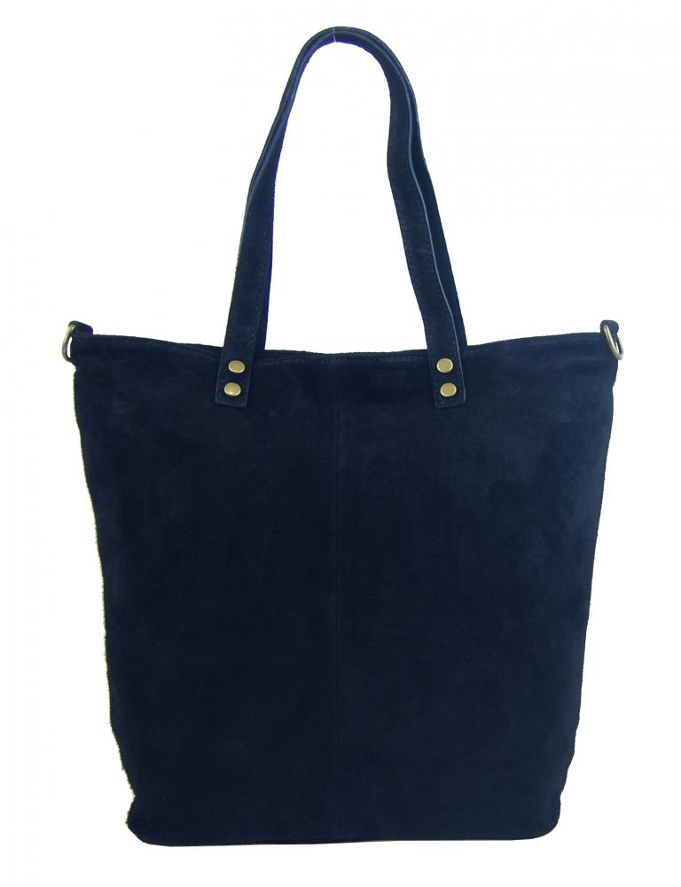 Kožená velká tmavě modrá broušená praktická dámská kabelka
