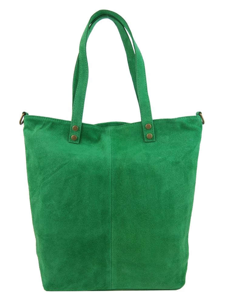 Kožená veľká zelená brúsená praktická dámska kabelka