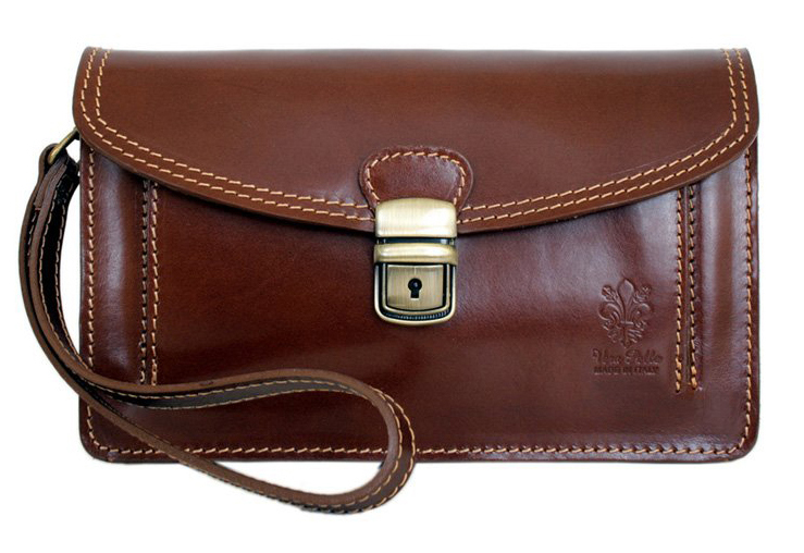 Hnedá kožená pánska dokladová taška / etue Vera Pelle