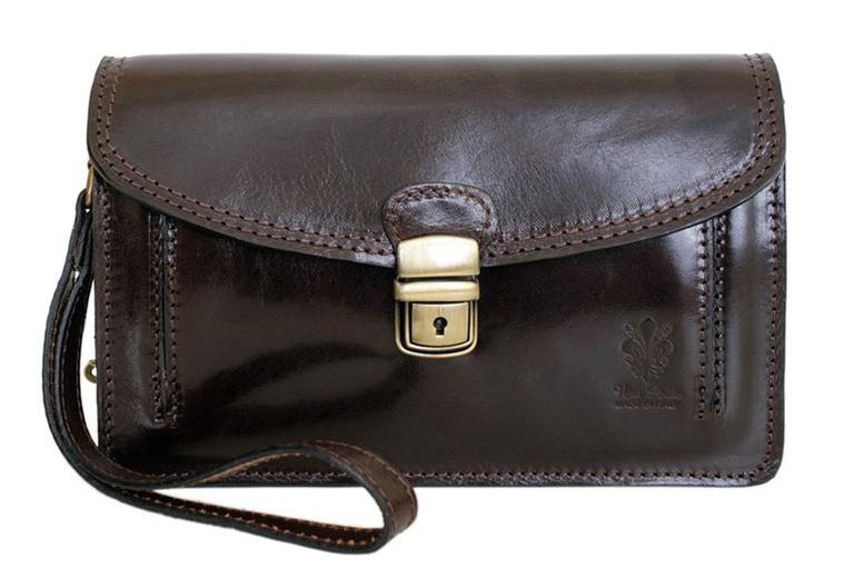 Tmavo hnedá kožená pánska dokladová taška / etue Vera Pelle