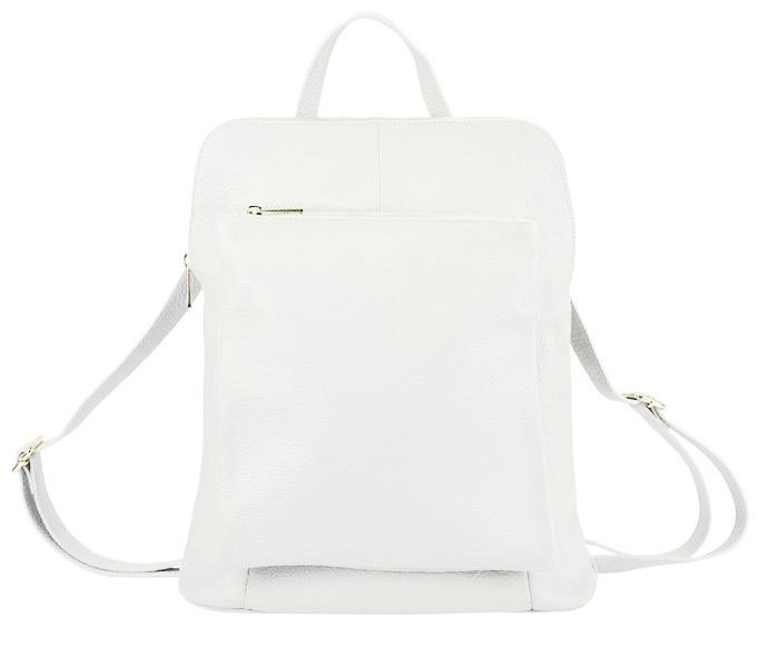 Kožený dámsky módny batôžtek s čelným vreckom Patrizia Piu biely