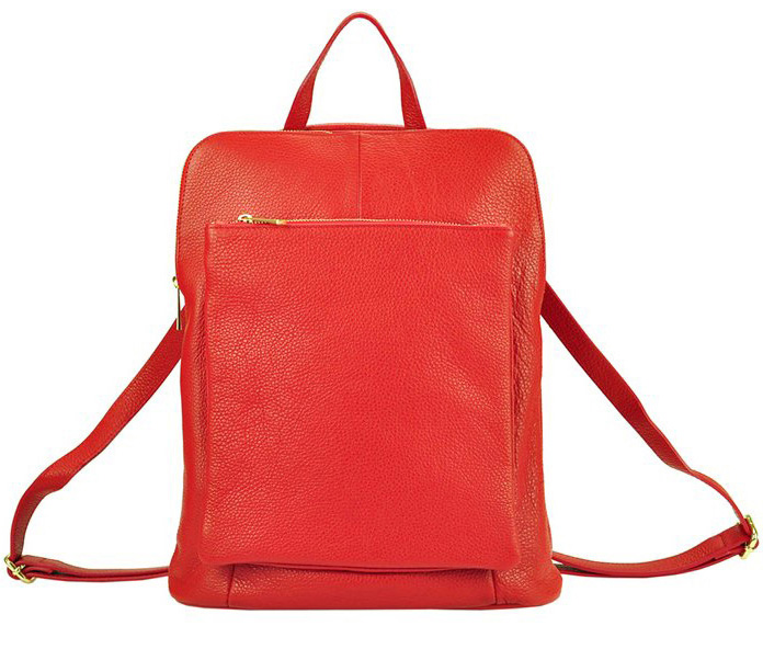 Kožený dámsky módny batôžtek s čelným vreckom Patrizia Piu červený