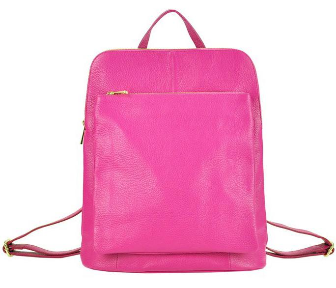 Kožený dámsky módny batôžtek s čelným vreckom Patrizia Piu fuchsiovo ružový