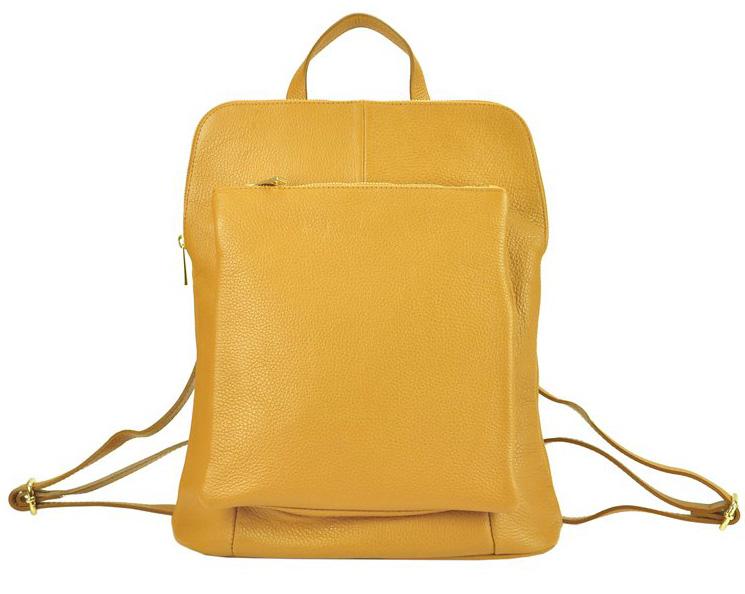 Kožený dámsky módny batôžtek s čelným vreckom Patrizia Piu horčicovo žltý