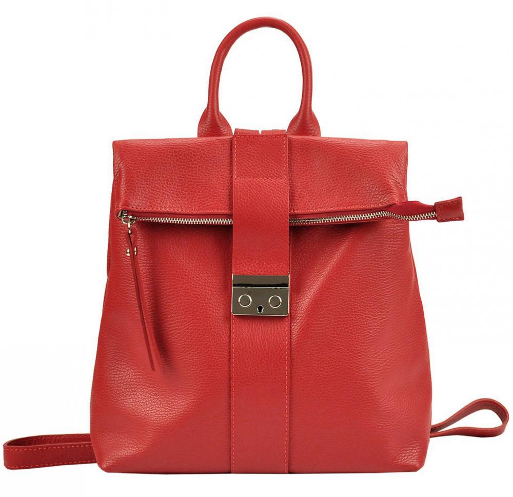 Kožený dámsky módny batôžtek Patrizia Piu červený