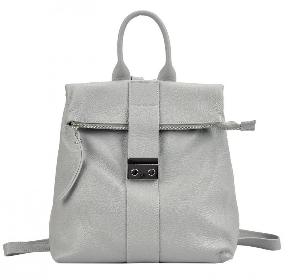 Kožený dámský módní batůžek Patrizia Piu světle šedý