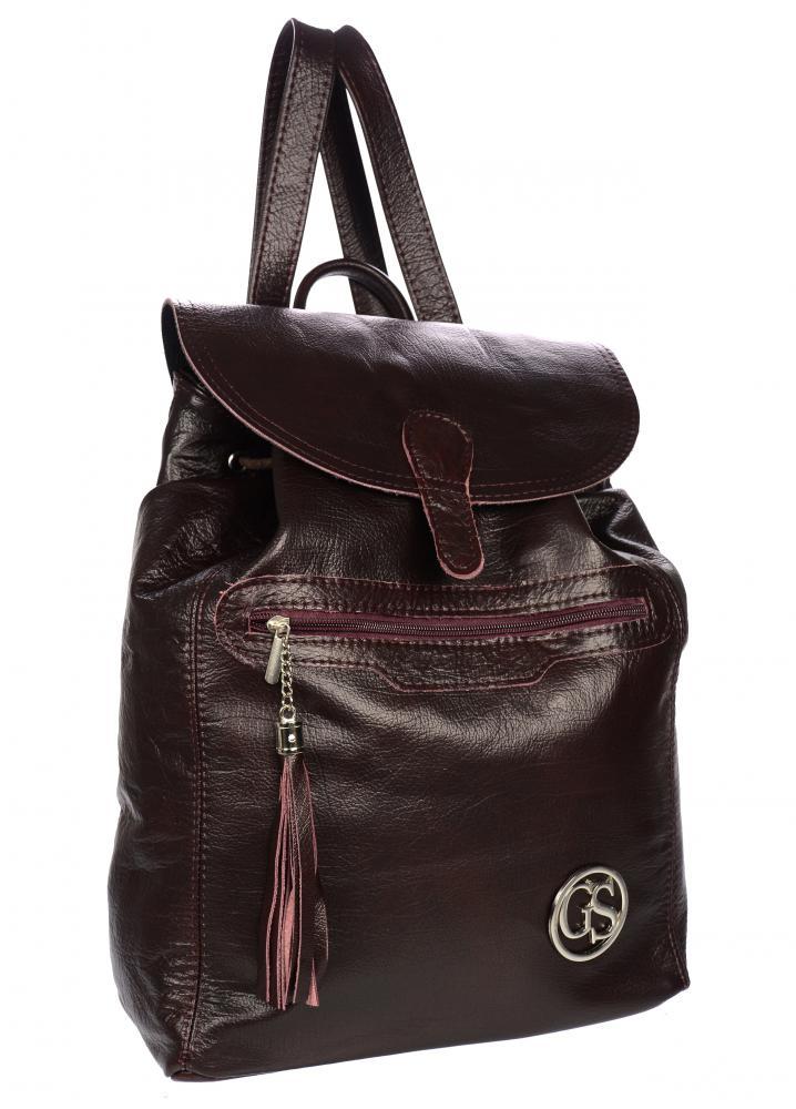 Velký bordó kožený dámský batoh GROSSO