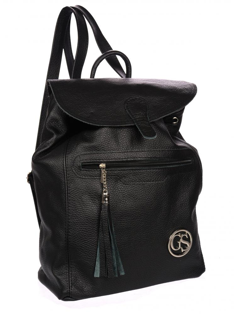 Velký černý kožený dámský batoh GROSSO