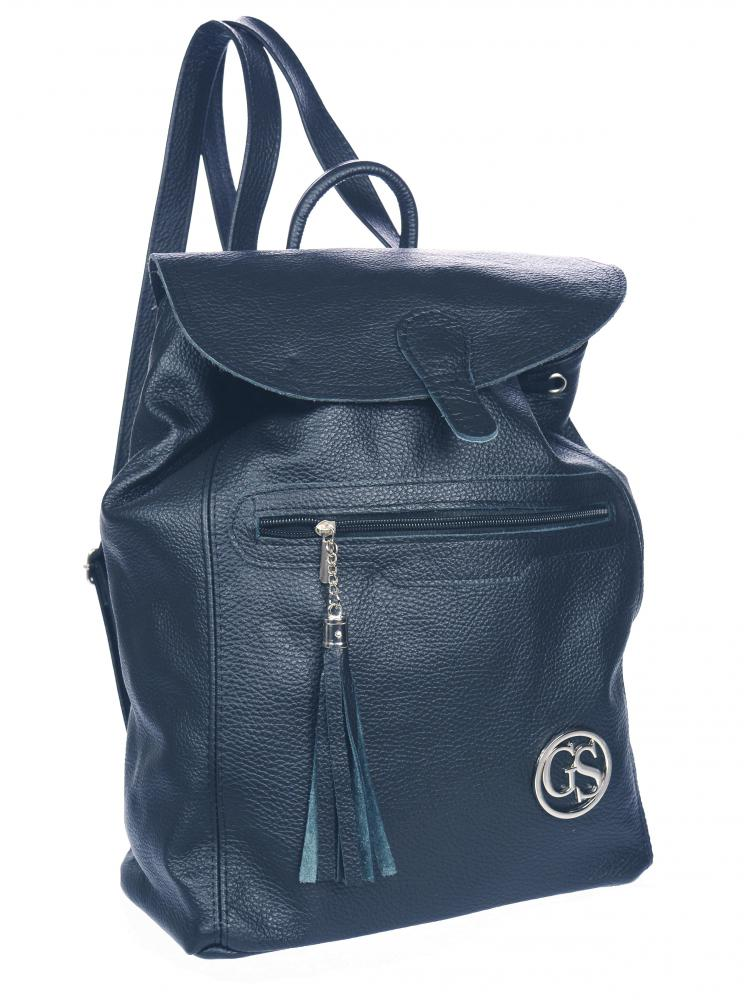 Velký tmavě modrý kožený dámský batoh GROSSO