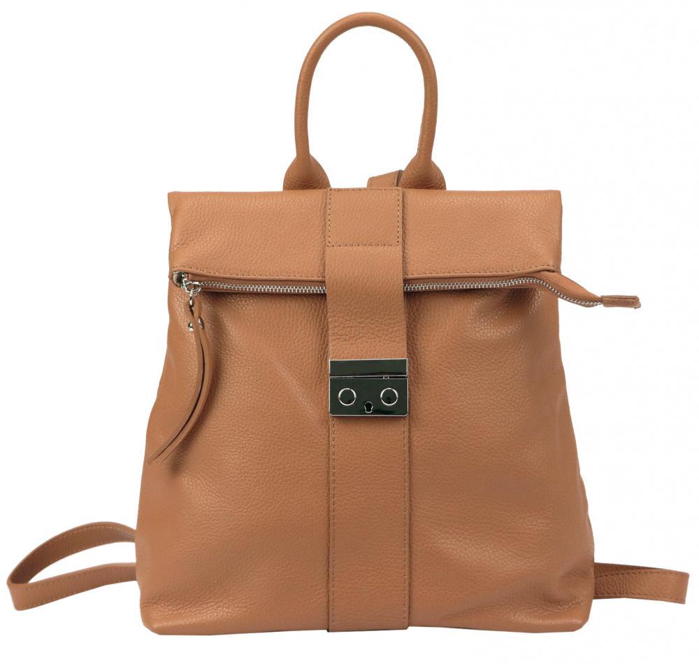 Kožený dámský módní batůžek Patrizia Piu camel hnědý