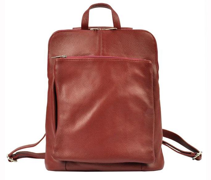Kožený dámský módní batůžek s čelní kapsou Patrizia Piu tmavě červený