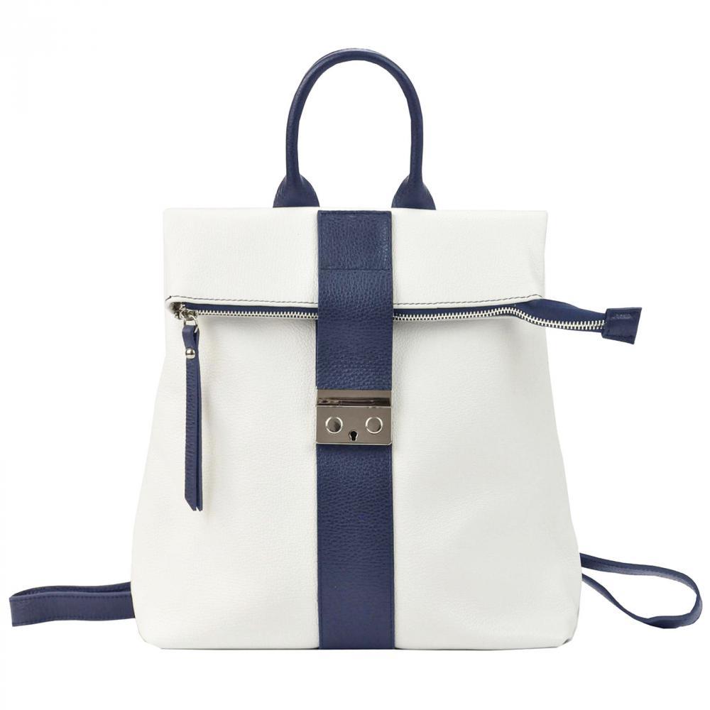 Kožený dámsky módny batôžtek Patrizia Piu bielo-modrý