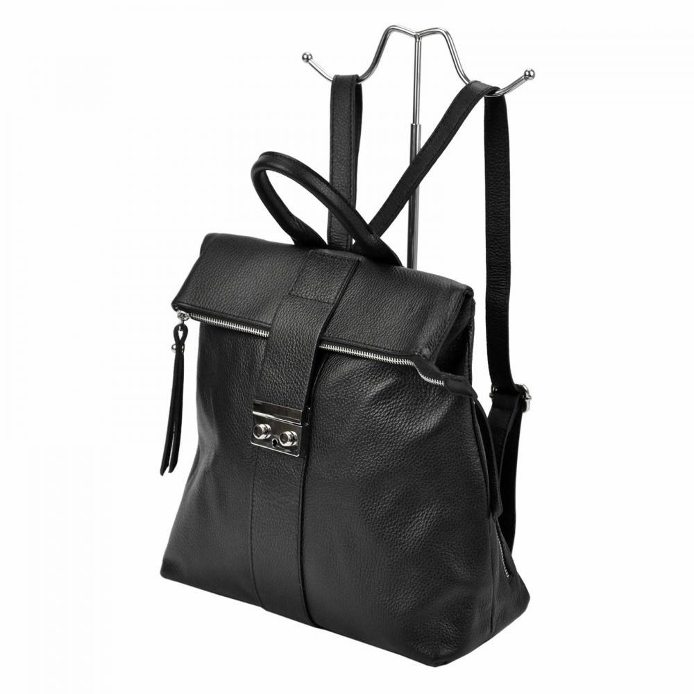 Kožený dámský módní batůžek Tiara černý