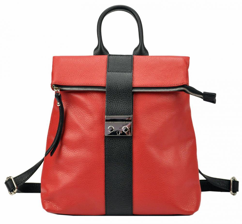 Kožený dámský módní batůžek Patrizia Piu červená