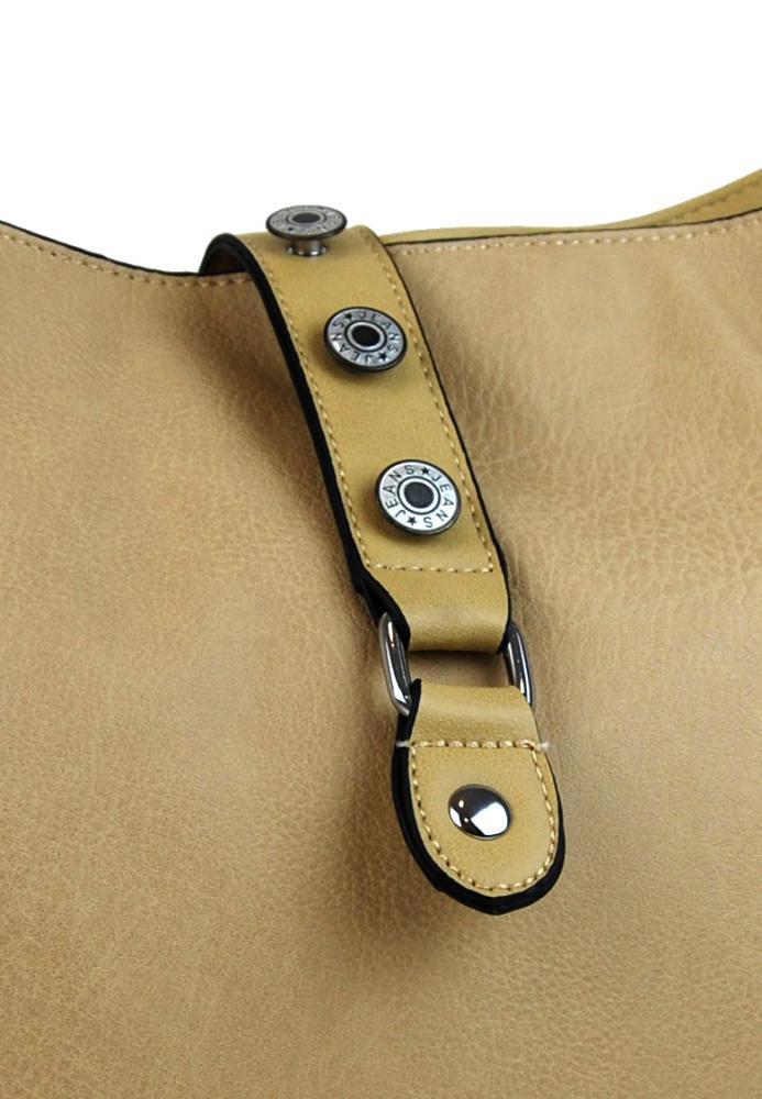 Veľká dámska crossbody kabelka L2037 hnedo-béžová