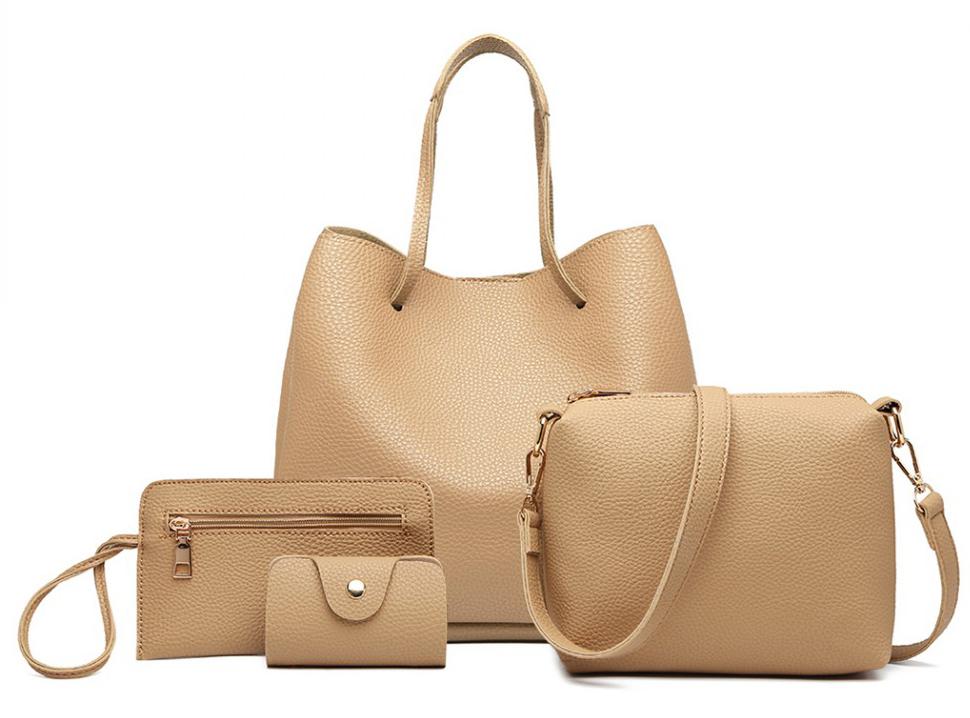 Praktický dámsky kabelkový set 4v1 Miss Lulu béžová
