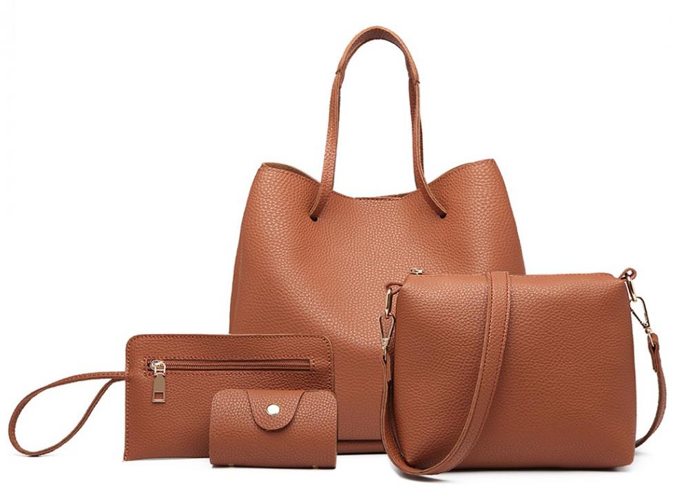 Praktický dámsky kabelkový set 4v1 Miss Lulu hnedá