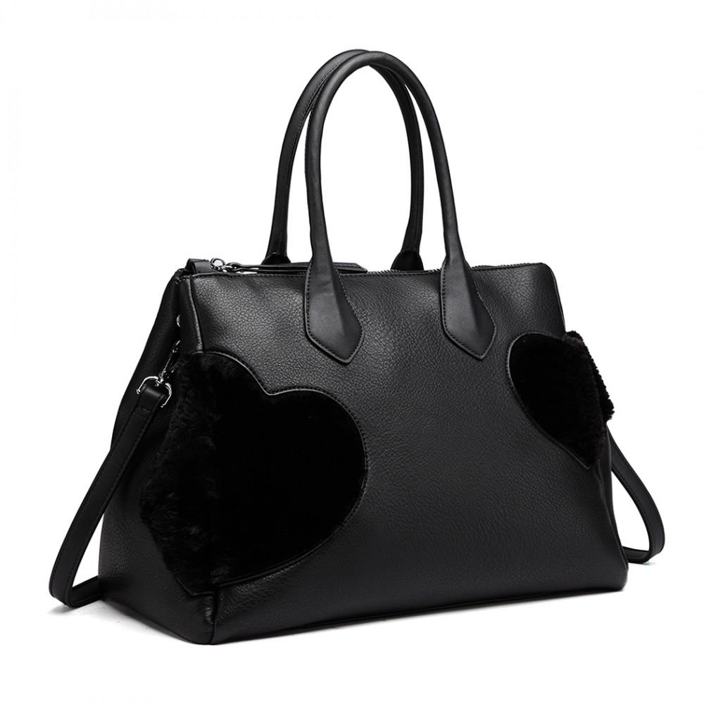 Moderná čierna kabelka so semišovou dekoráciou Miss Lulu