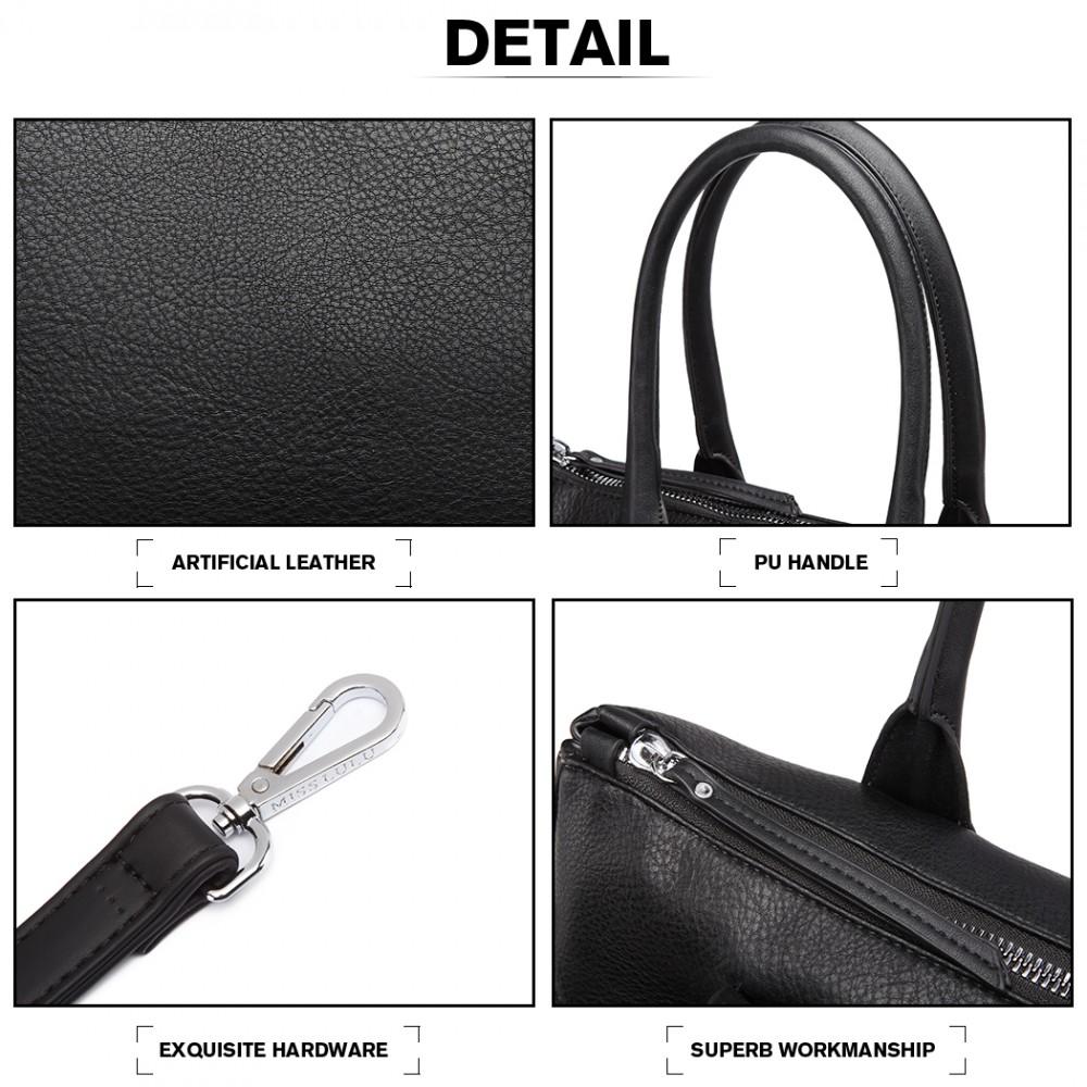 Moderní černá kabelka se semišovou dekorací Miss Lulu