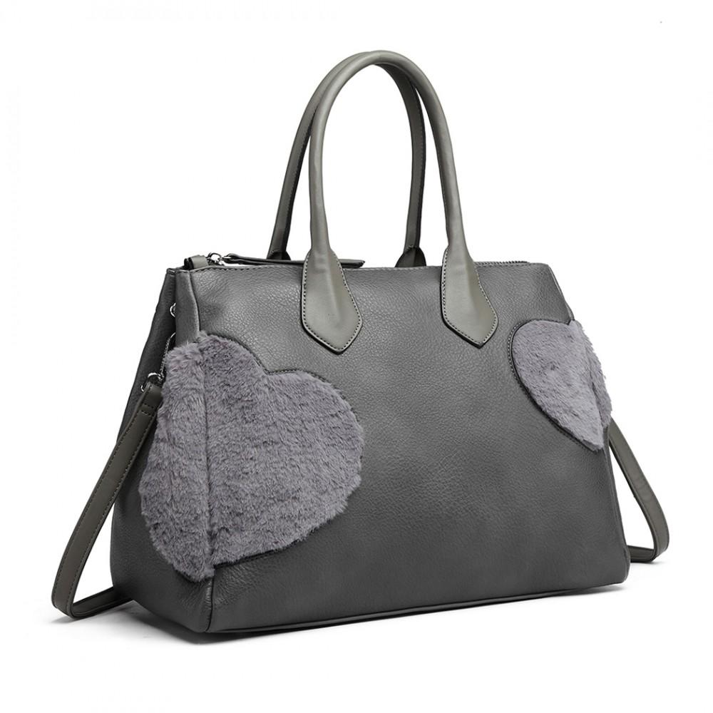 Moderní šedá kabelka se semišovou dekorací Miss Lulu