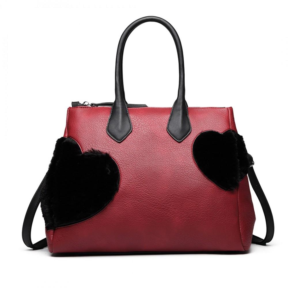 Moderní červená kabelka se semišovou dekorací Miss Lulu