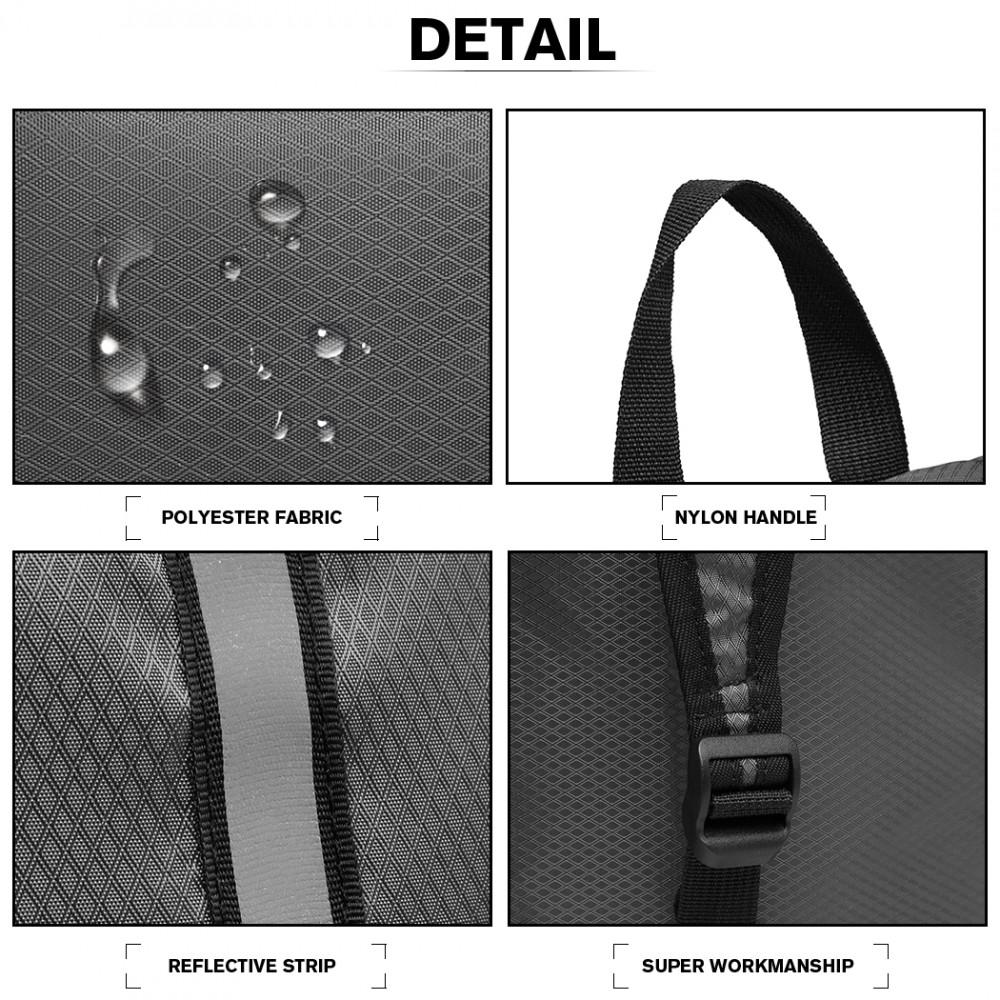 KONO Šedý ľahký skladací cestovní nepromokavý ruksak s reflexným pásikom