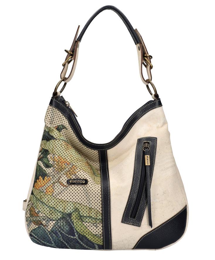 ELENCO Korková dámska kabelka cez plece s koženými doplnkami modrá