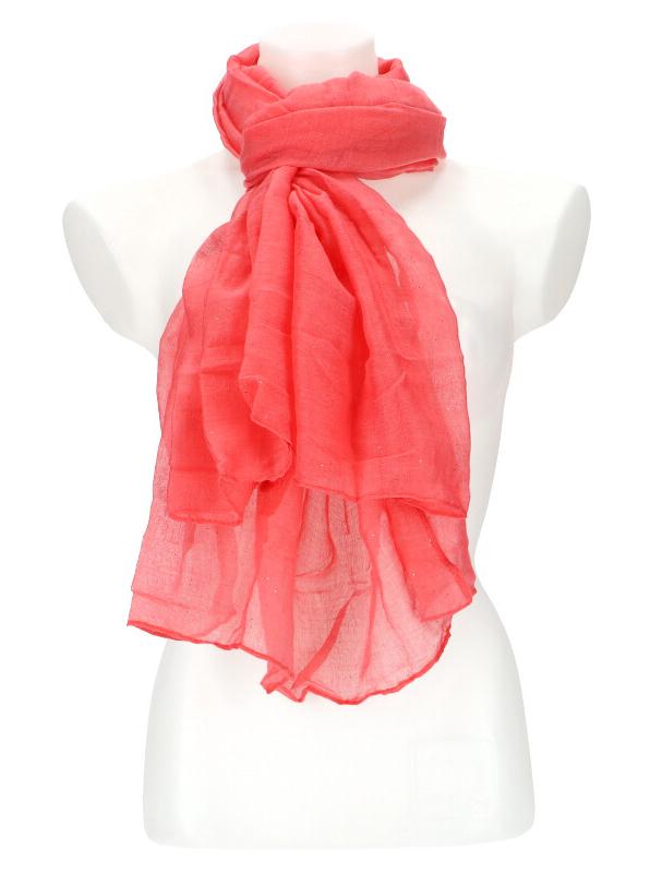 Dámský letní jednobarevný šátek 180x90 cm korálová červená