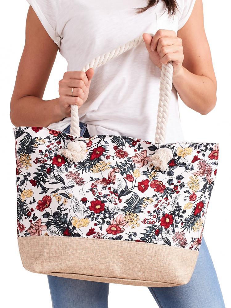 Letní lehká plážová taška bílá s květy XP-B