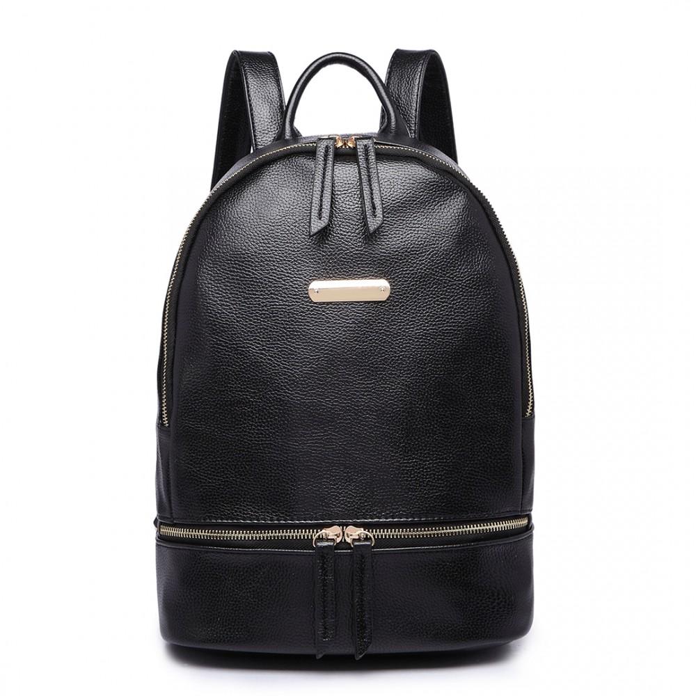 MISS LULU Elegantní dámský batoh v designu kůže černý