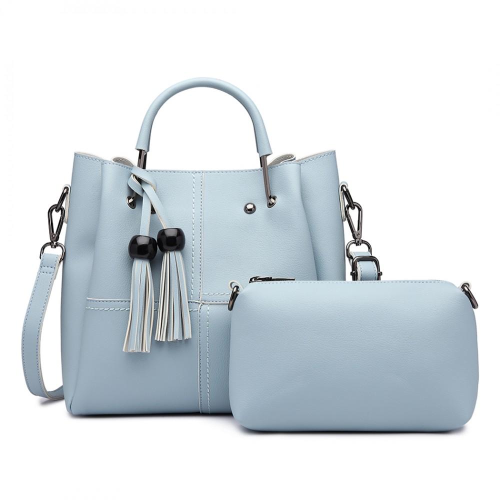 Moderní světle modrý dámský kabelkový set 2v1 Miss Lulu
