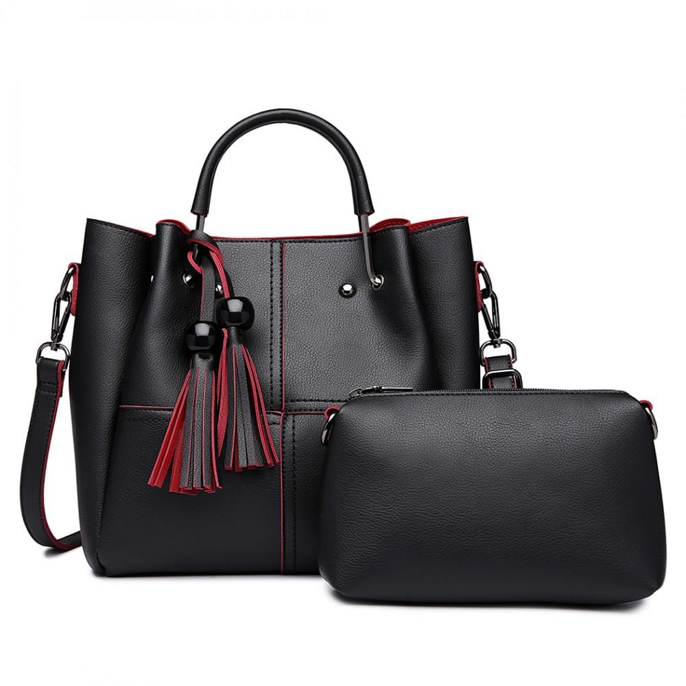 Moderný čierny dámsky kabelkový set 2v1 Miss Lulu