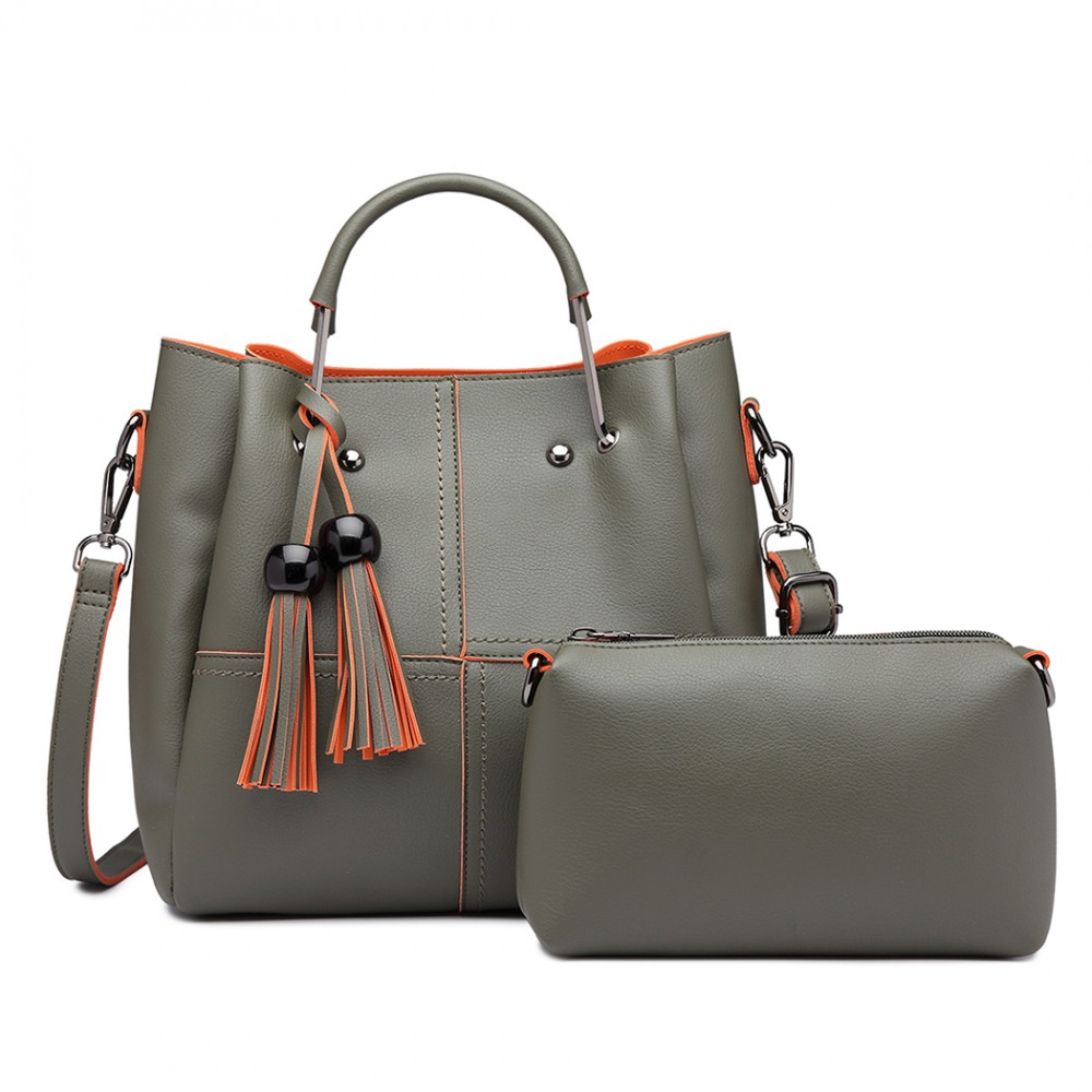 Luxusný zelený dámsky kabelkový set 2v1 Miss Lulu
