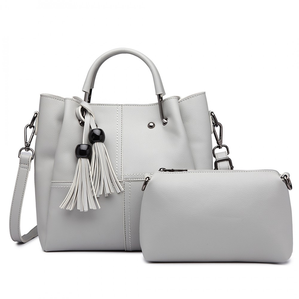 Moderní šedý dámský kabelkový set 2v1 Miss Lulu