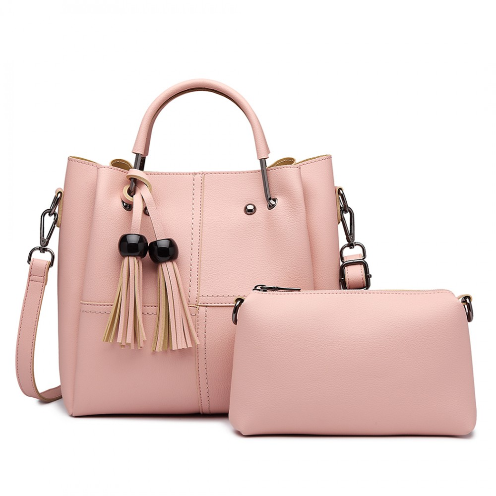 Moderní růžový dámský kabelkový set 2v1 Miss Lulu