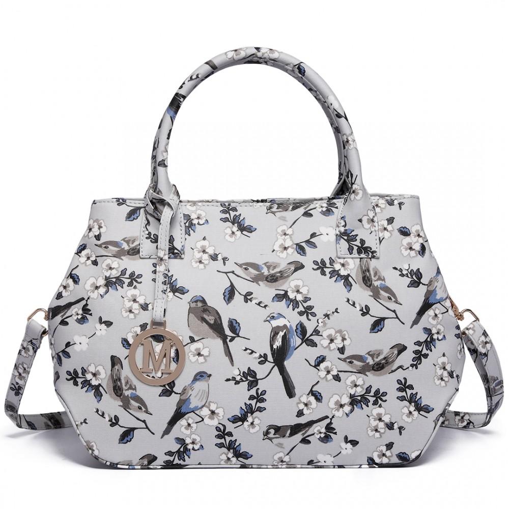 Nadčasová sivá kabelka s vtáčikmi Miss Lulu