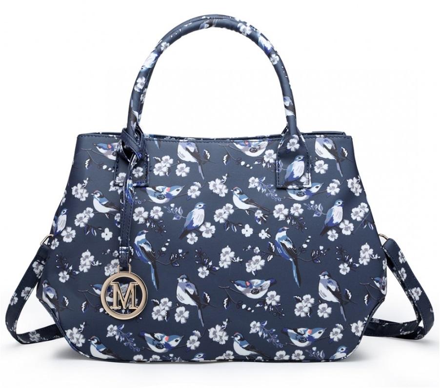 Nadčasová modrá kabelka s vtáčikmi Miss Lulu