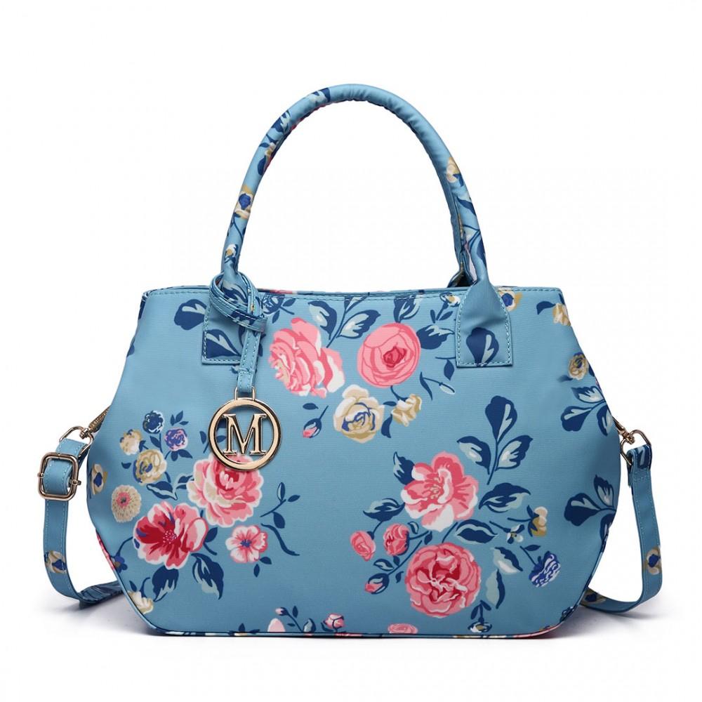 Nadčasová modrá matná kabelka s kvetinami Miss Lulu
